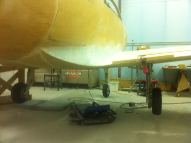 Falco fuselage looking from the rear